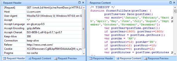 HTTP Request and Response Detailed View