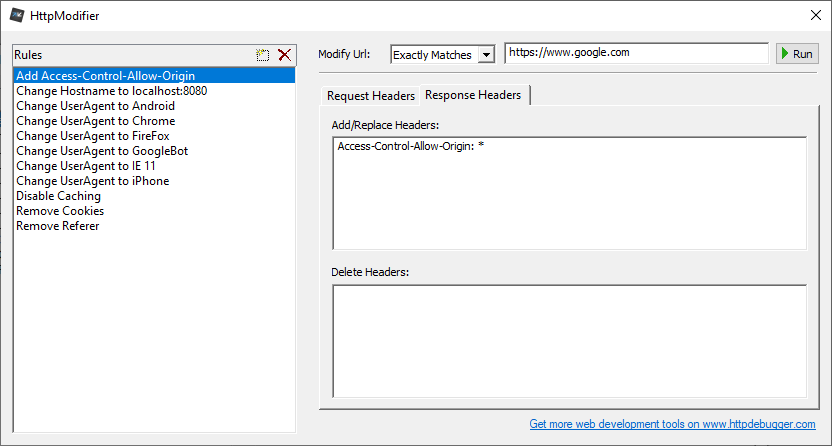 Modify HTTP Headers On-The-Fly - HttpModifier